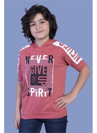 Toontoy Kids Toontoy Erkek Çocuk Baskılı Kapüşonlu Reglan Kol Tişört Mercan